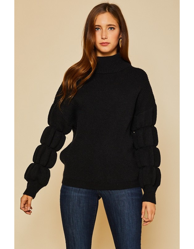 Tops 66 Winter Chill Black Bubble Sleeve Sweater
