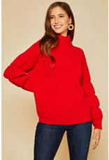 Tops 66 Winter Chill Red Bubble Sleeve Sweater