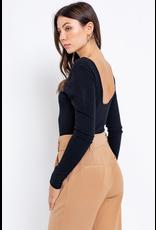 Tops 66 Black Long Sleeve Bodysuit w/Scoop Back