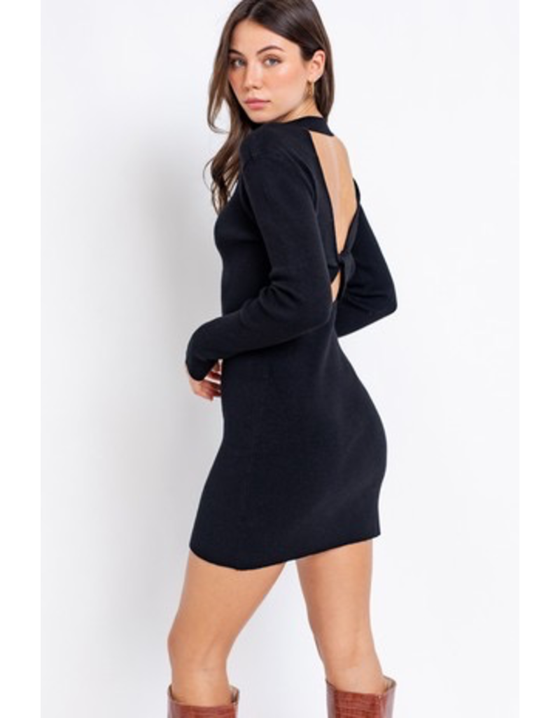 Dresses 22 Winter WIshes Black Open Back Sweater Dress