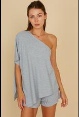 Tops 66 One Shoulder Grey Comfy Set