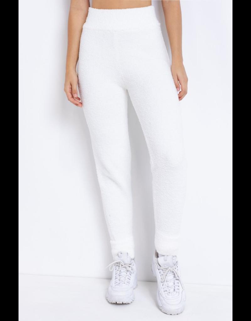 Pants 46 Comfy Cozy White Fleece Joggers