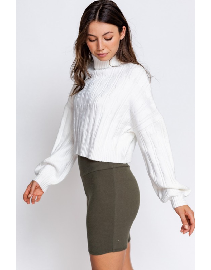 Tops 66 Chilly Weather White Turtle Neck Sweater