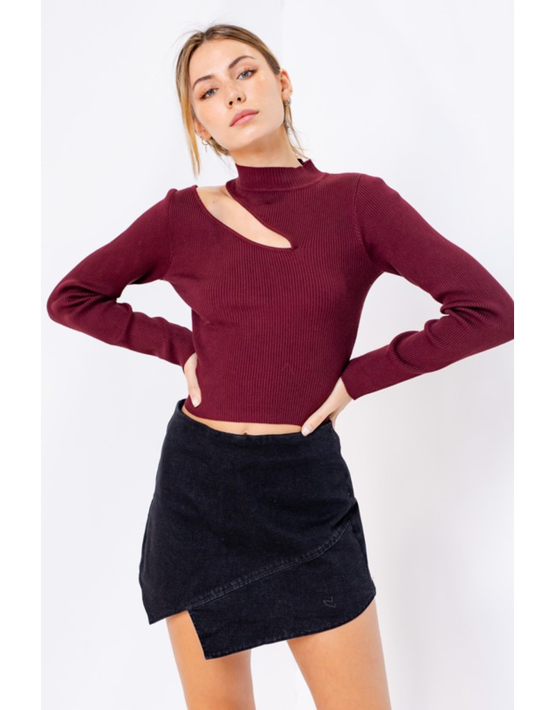 Tops 66 Cranberry Crush Cut Out Mock Neck Sweater