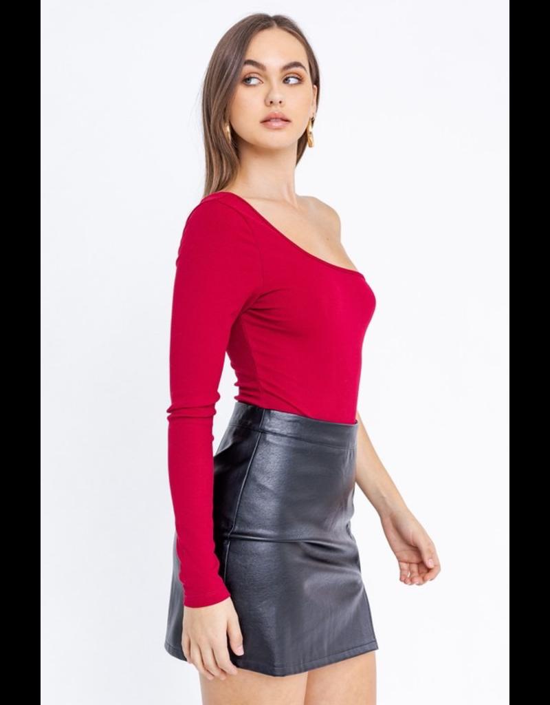 Tops 66 Crimson Red One Shoulder Bodysuit