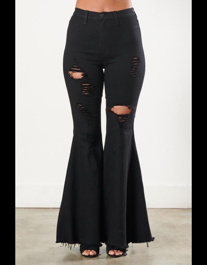 Pants 46 Distressed Black Flares