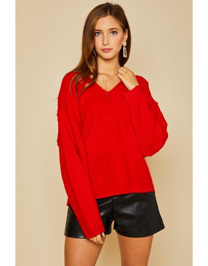 Tops 66 Holiday Red Party Sweater