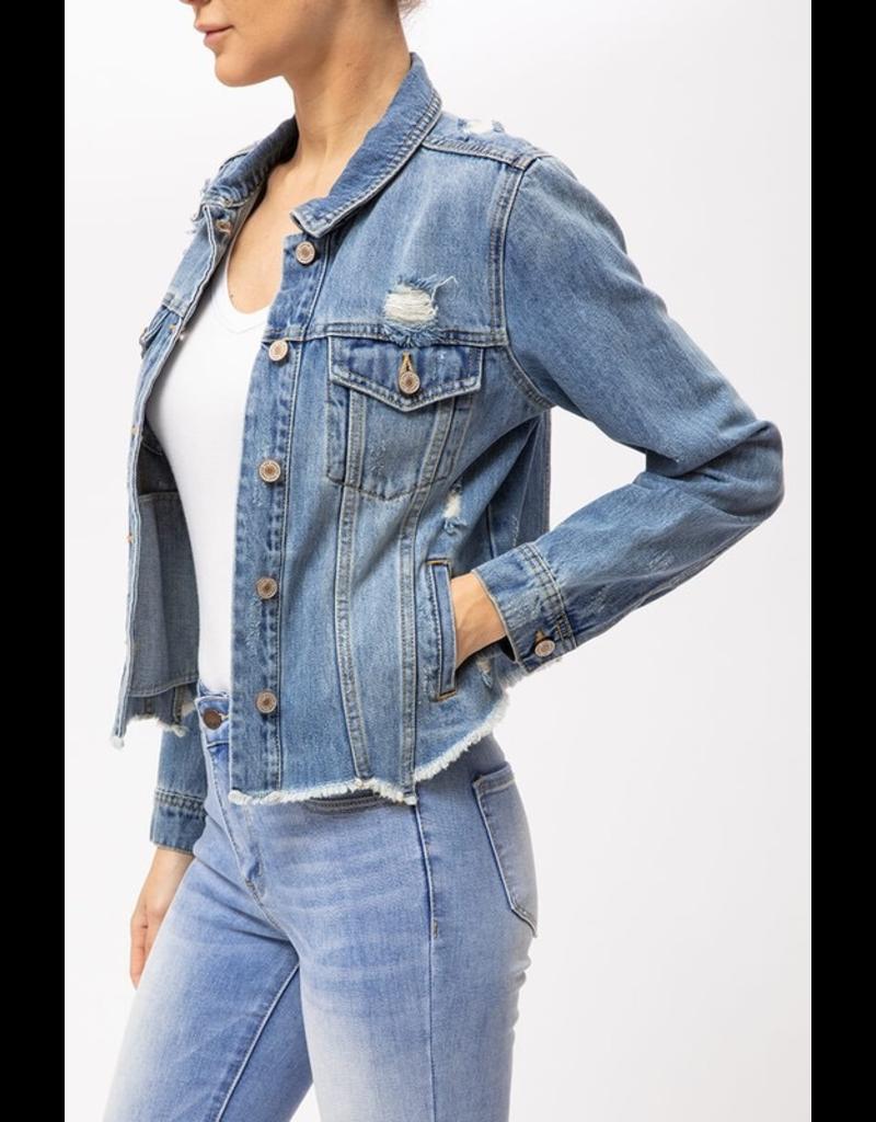 Outerwear KanCan Distressed Denim Jacket