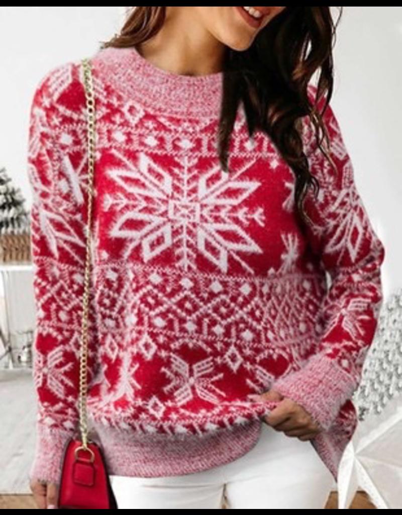Tops 66 Fuzzy Fun Christmas Snowflake Sweater