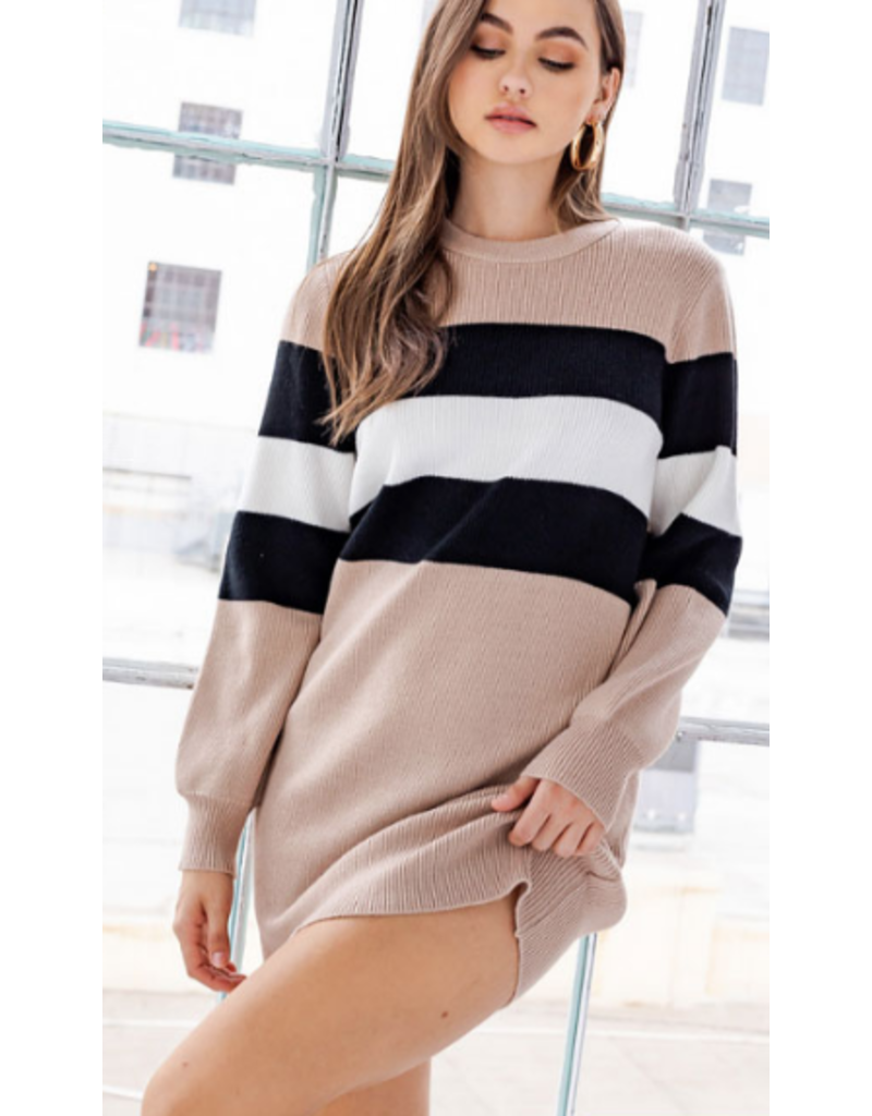 Dresses 22 Between The Lines Stripe Neutral Sweater Dress