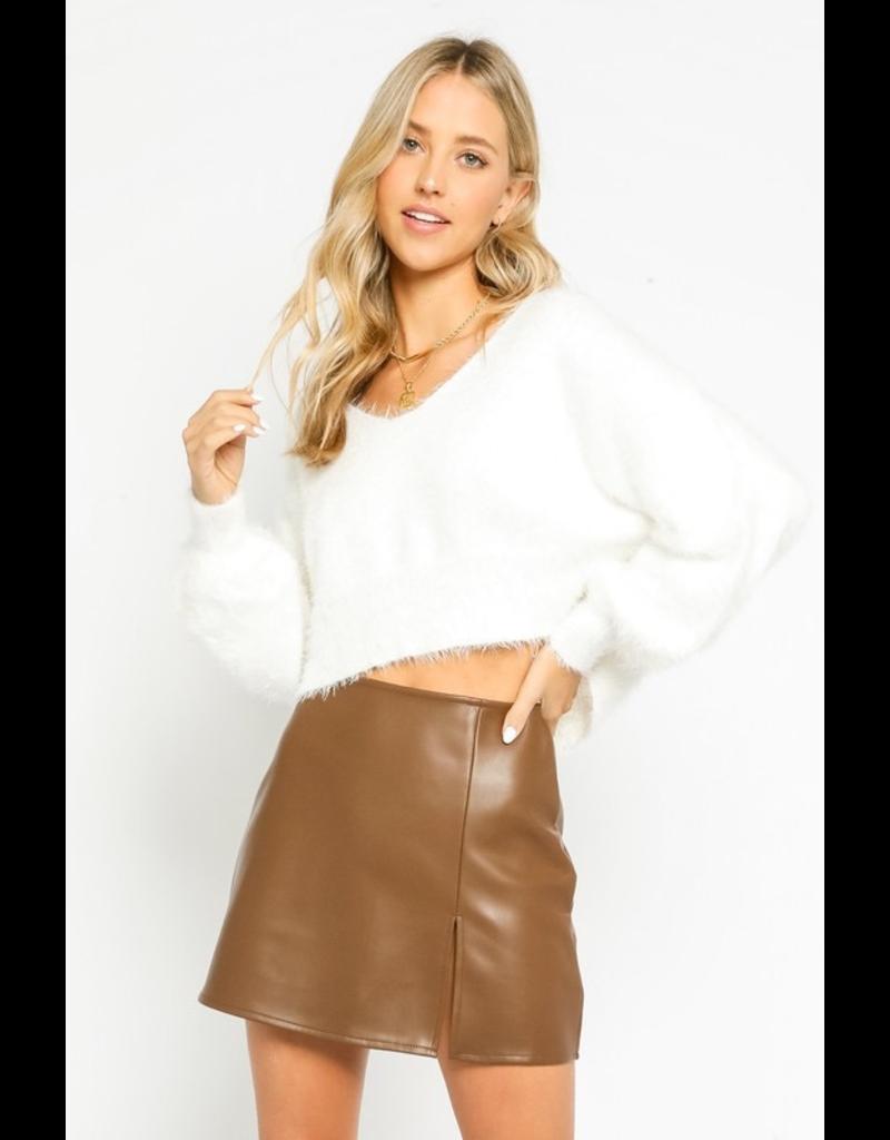 Tops 66 Fuzzy Dream V Neck Crop Sweater