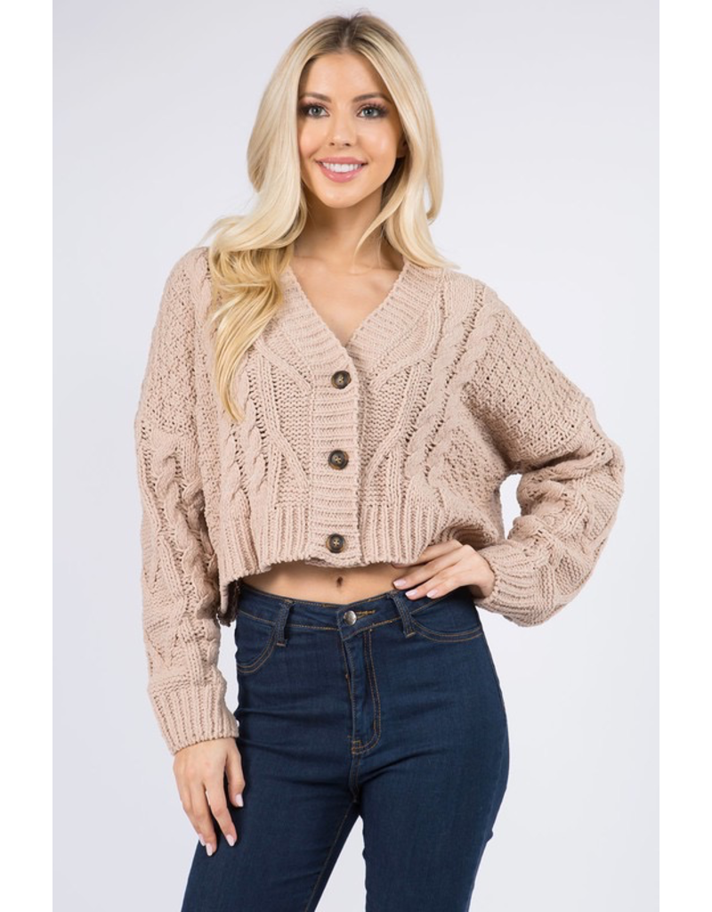 Tops 66 Button Front Cable Knit Cardigan