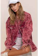 Outerwear Live Life Stud Wine Corduroy Jacket