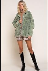 Outerwear Live Life Stud Green Corduroy Jacket