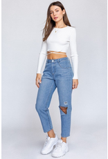 Pants 46 High Waisted Ripped Mom Denim