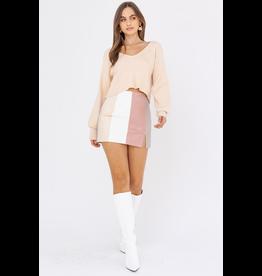 Skirts 62 Blush Color Block Leather Skirt