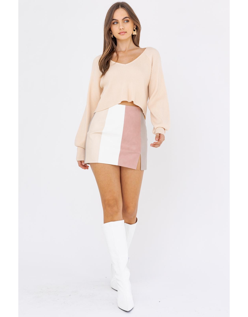 Skirts 62 Blush Color Block Leather Skirt