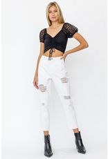 Tops 66 Oh My Stars Black Ruched Crop Top