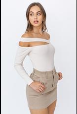 Tops 66 Creme Brulee Asymmetrical Neckline Bodysuit