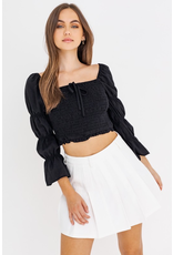 Tops 66 Darling Puff Sleeve Black Smock Top