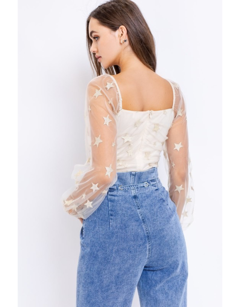 Tops 66 Star Party Sheer Sleeve Bodysuit