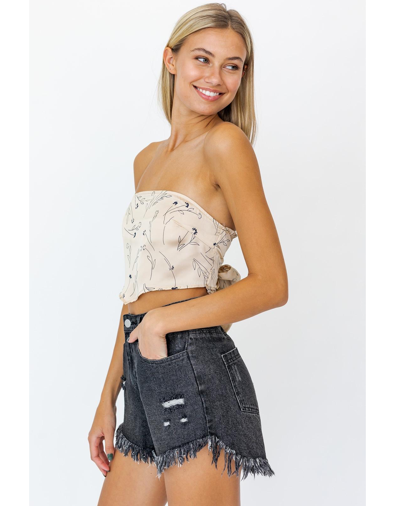 Tops 66 Taupe/Black Floral Handkerchief Top