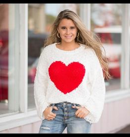 Tops 66 Popcorn Texture Heart Sweater