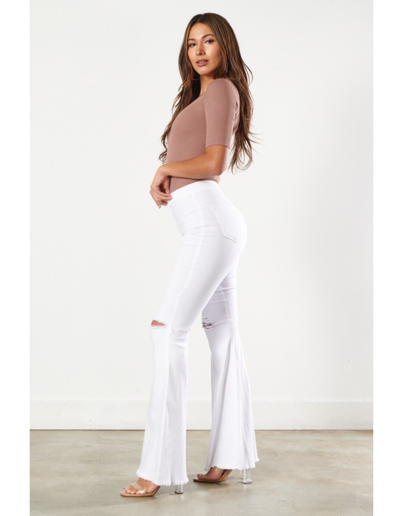 Pants 46 High Waisted White Ripped Knee Flares