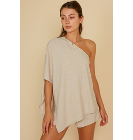 Tops 66 One Shoulder Oatmeal Comfy Set