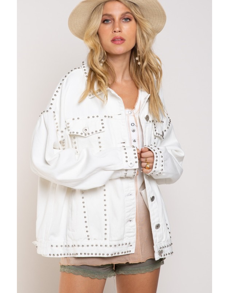 Outerwear Love Life White Denim Studded Jacket