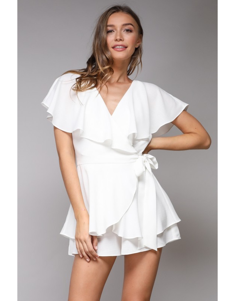 Rompers 48 Wrap & Open Back Little White Romper