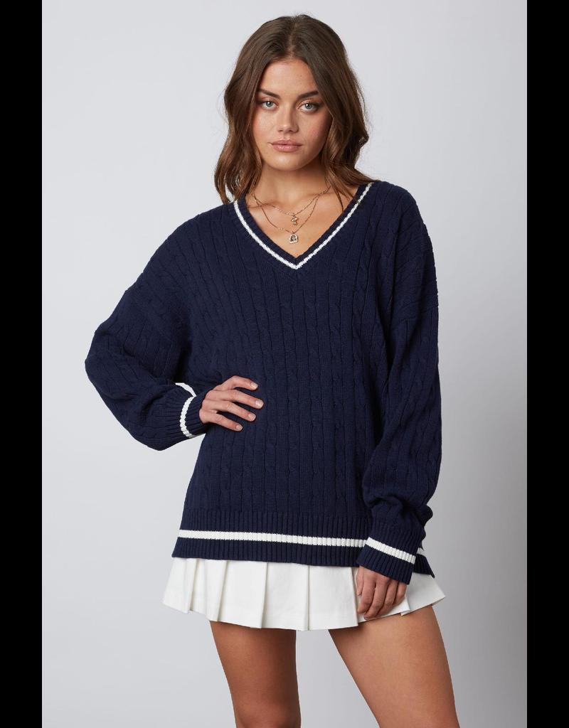 Tops 66 Navy Varsity Sweater