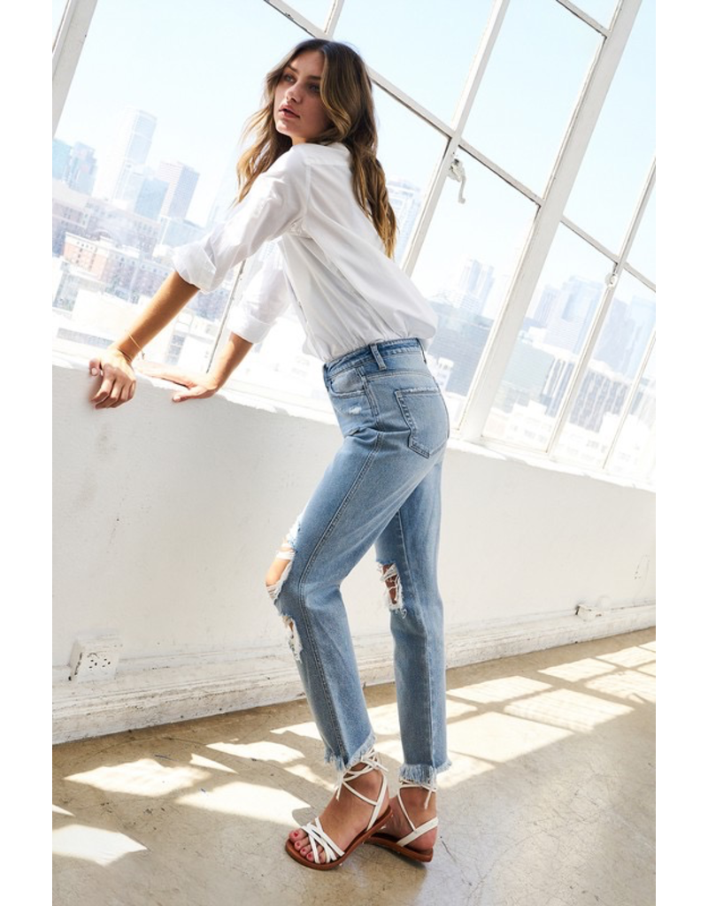 Pants 46 Super High Rise Distressed Relaxed Straight Denim