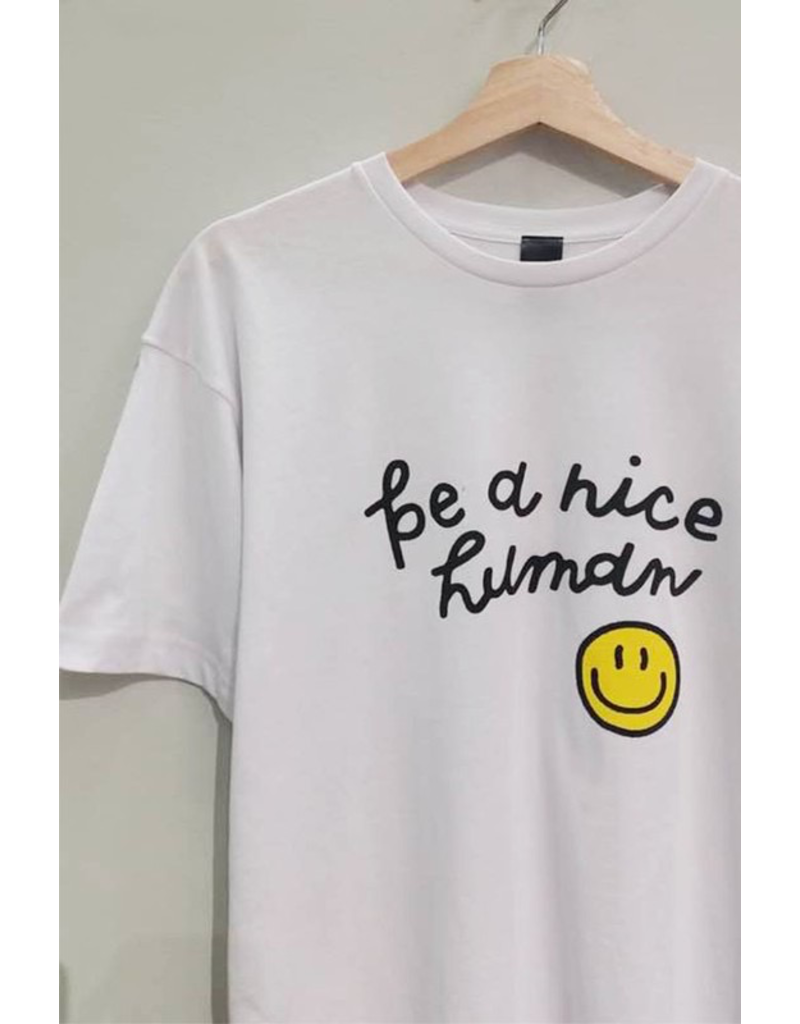 Tops 66 Be A Nice Human Smiley Tee