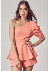 Rompers 48 Count On It One Shoulder Soft Coral Romper
