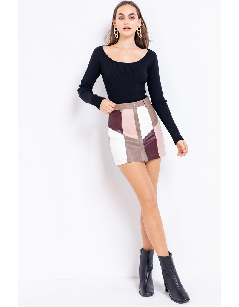 Skirts 62 Color Block Leather Party Skirt