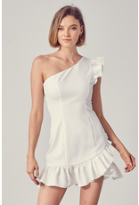 Dresses 22 Ruffle and Ready One Shoulder White Dress