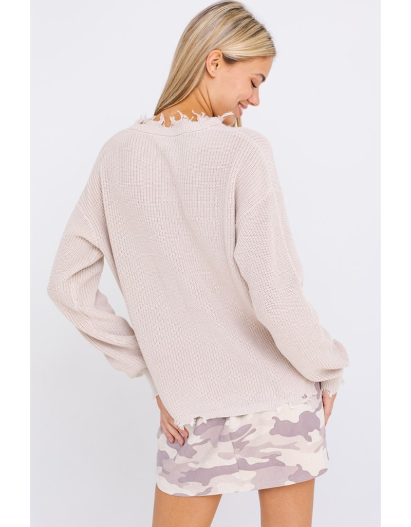 Tops 66 Make It Count Distressed Sweater