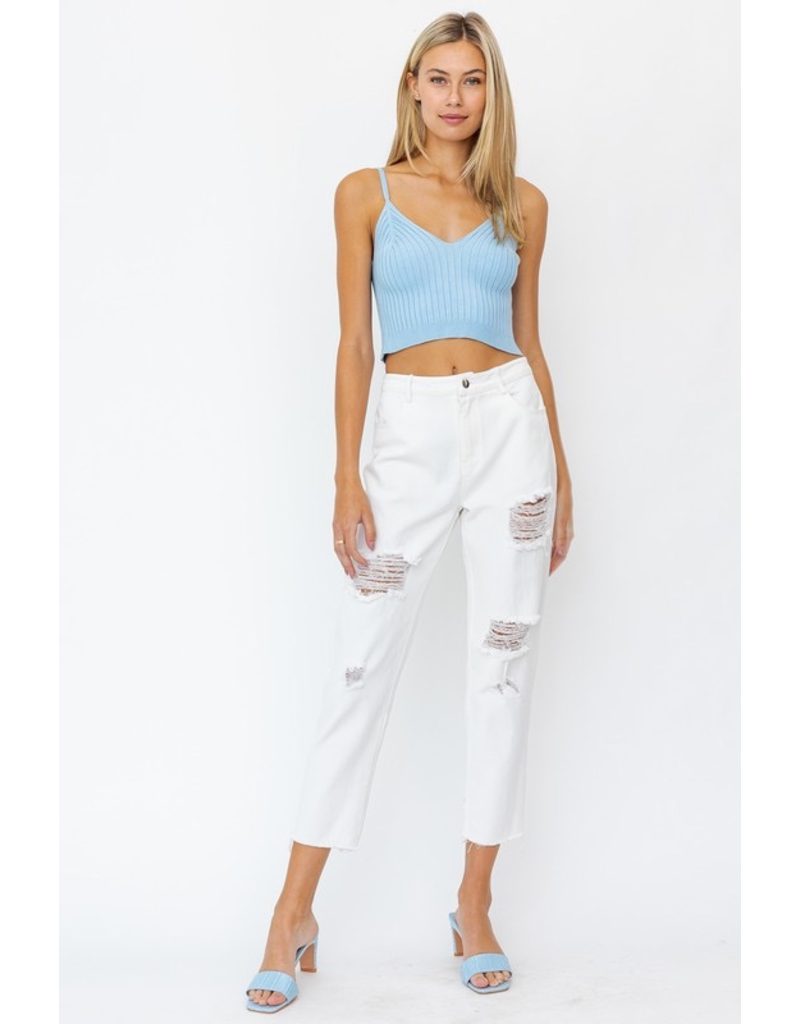 Pants 46 High Waisted Moderate Distress White Denim