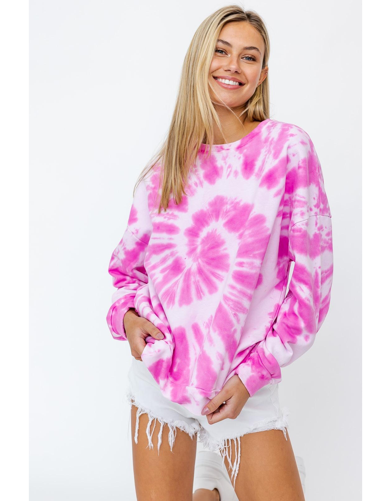 Tops 66 Hot Pink Tie Dye Sweatshirt