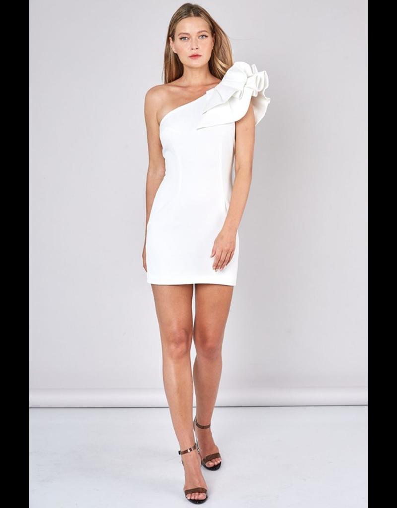 Dresses 22 Dreams Come True White One Shoulder Ruffle Dress