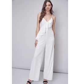 Jumpsuit Moments That Matter White Ruffle Jumpsuit