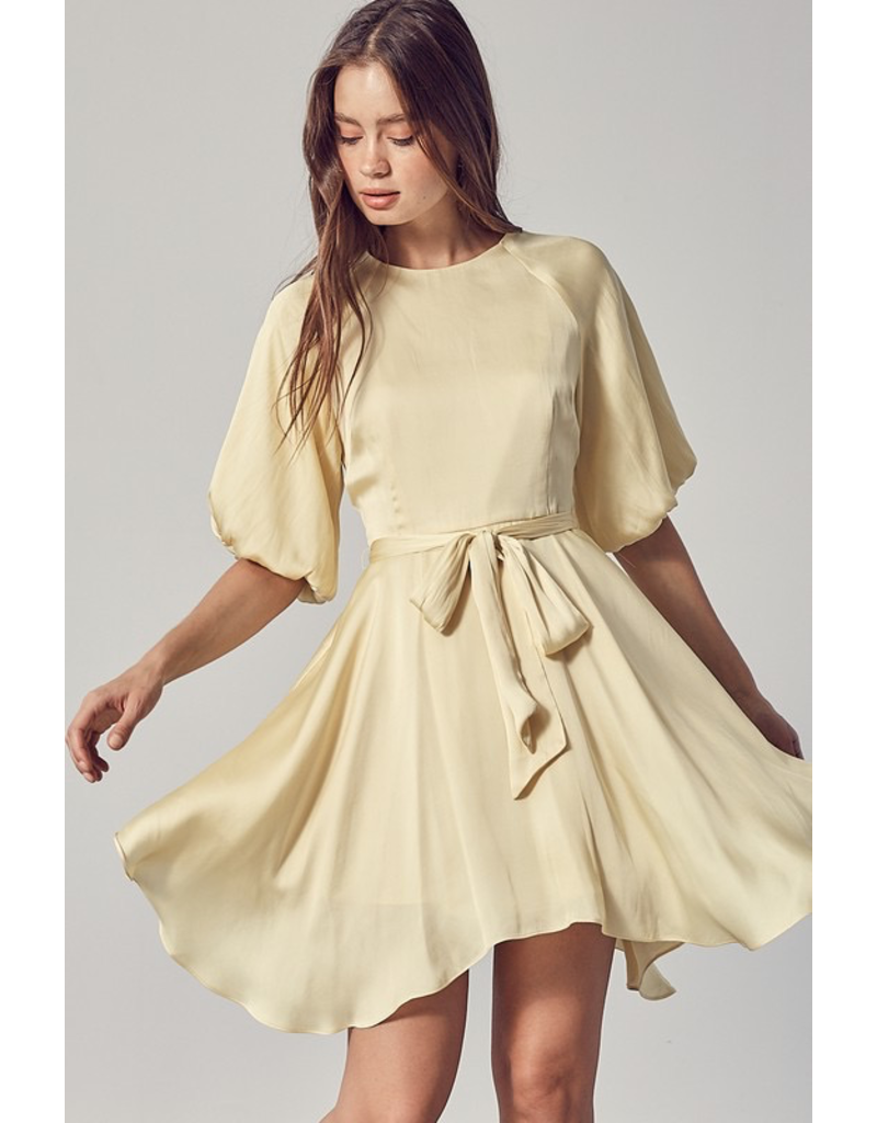 Dresses 22 Celebrate Satin Soft Yellow Party Dress