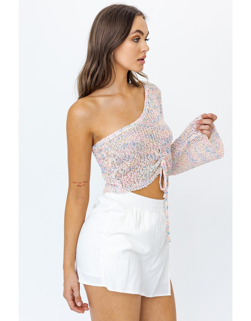 Tops 66 Colorful Spring One Shoulder Sweater
