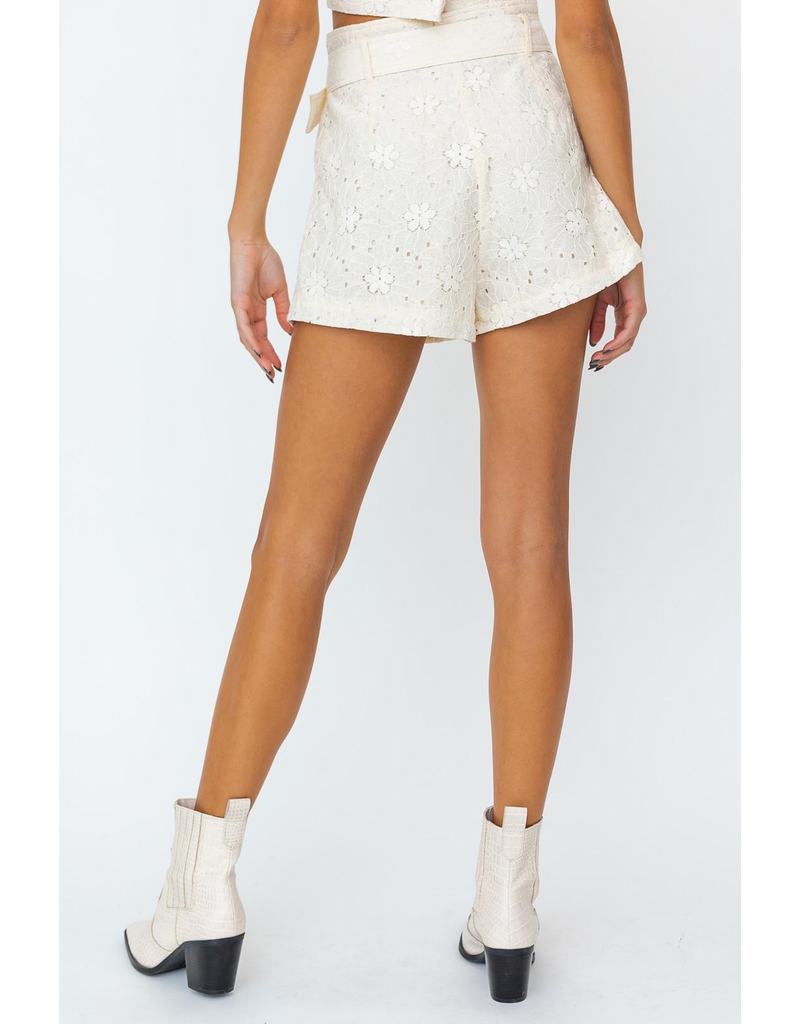 Shorts 58 High Waisted Belted Lace Shorts
