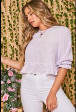 Tops 66 Spring Crop Lavender Top