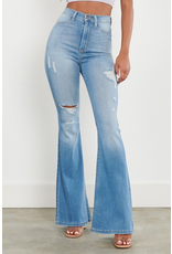 Pants 46 High Waisted Light Wash Distressed Flares