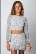 Skirts 62 Pretty Paisley Side Ruched White Skort