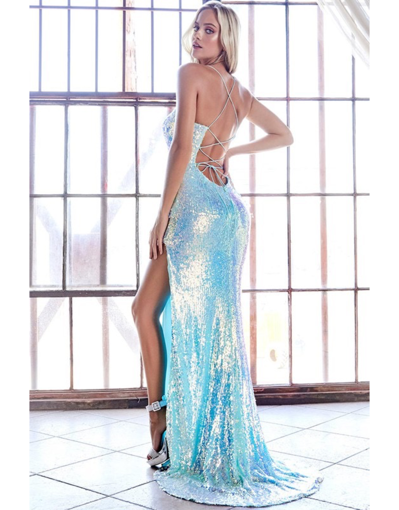 Dresses 22 Opal Blue Sequin Formal Dress