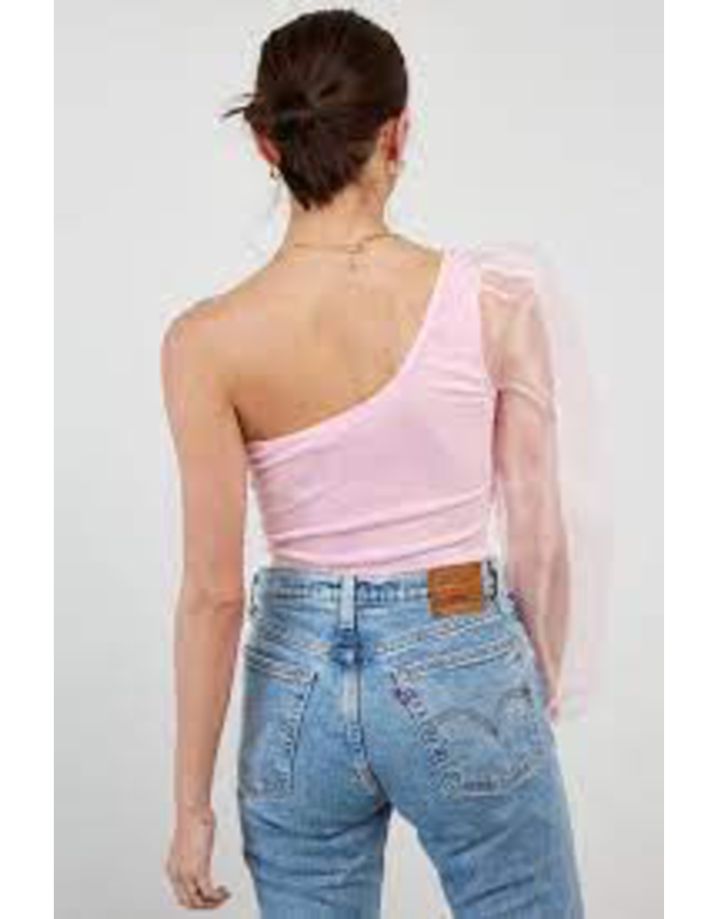 Tops 66 One Shoulder Organza Sleeve Top (Two Colors)